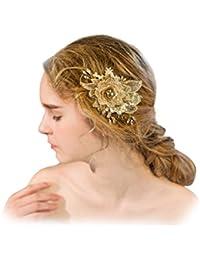 YAZILIND tocado belleza de la mujer nupcial de la boda broche de pelo broche de la fiesta rhinestones encaje de aleaci¨®n de flores accesorios de pelo