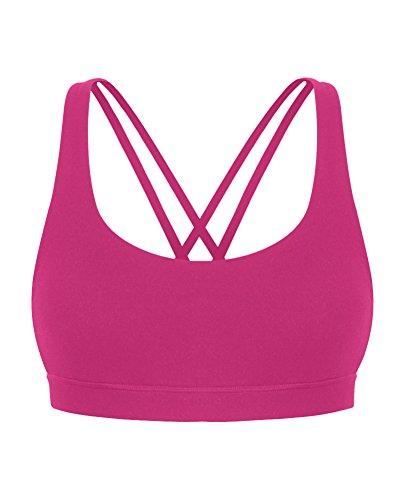 Femmes Rembourré Soutien-Gorge Haut Gilet Sport Fitness Sport Yoga Séchage Rapide Rose