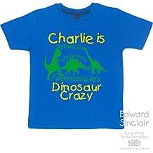 """Dinosaur Crazy personalizado con nombre """"Boys sudadera camiseta y Set de regalo con amarillo y verde impresión (por favor de entrada nombre en la sección de mensaje de regalo)"""