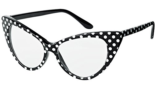UVprotect Damen Katzenauge cateye Form Sonnenbrille Polka dots durchsichtig schwarz W93-1