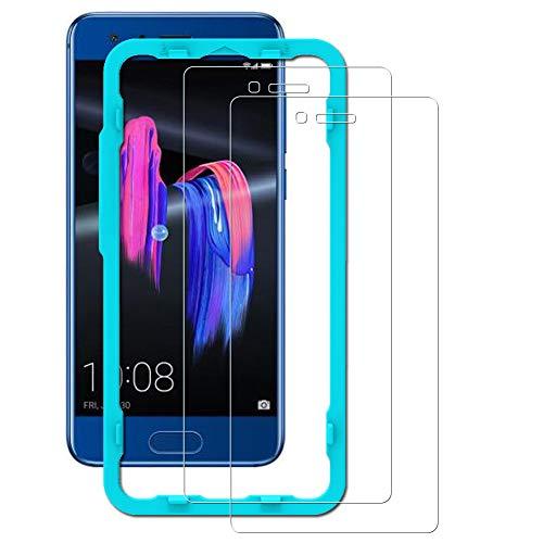 Flos [2 Pack] Displayschutzfolie für Huawei Honor 9, Bubble Free Installation Applikator gehärtetem Glas Displayschutzfolie [Anti-Fingerprint] für Huawei Honor 9-transparent