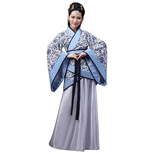 Meijunter Chinesisch Uralt Damen Hanfu - Traditionell Kostüm Elegant Retro Tang Suit Bühne Performance Kleid, Qinghuaci, Tag S = UK/EU/US/AUS (Fee Kostüm Uk)