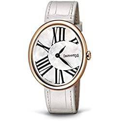 Eberhard Gilda 60067or Quartz Watch (Rechargeable) Rose Gold Plated Steel quandrante Mother of Pearl Leather Strap