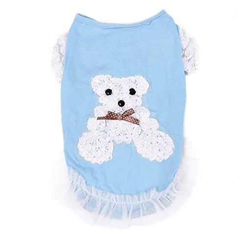 XUJW-PET, Katzenhund Entzückende Kostüm-Kleidung, das Bärn-Muster, 4 Größe 2 Farbe ( Color : Blue , Size : M (Muster Pet Kostüm)