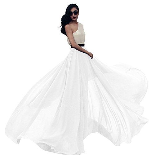 Urban GoCo Falda Larga de Mujer Plisada Cintura Alta Elegante Maxifalda de Playa...