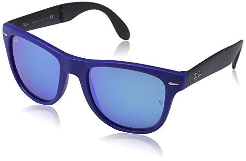 Ray-Ban RB4105 Folding Wayfarer, Occhiali da sole da donna MATTE BLUE (MATTE BLUE)
