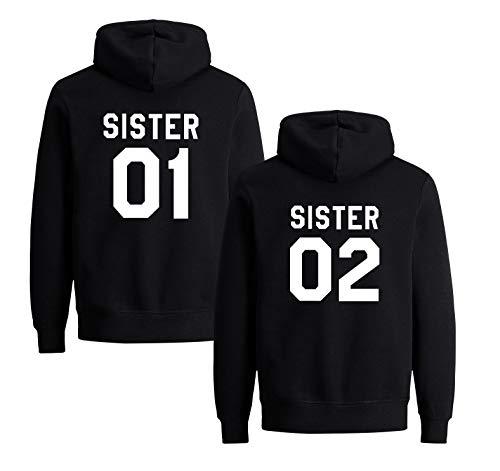 Best Friends Hoodies für Zwei Mädchen Sister Freunde Pullover Set für 2 Damen Langarm Kapuzenpullover Pulli Freundin BFF Geschenke Schwarz Grau (Black - 1, 01-L + 02-L) - Black Forever Hoody Sweatshirt
