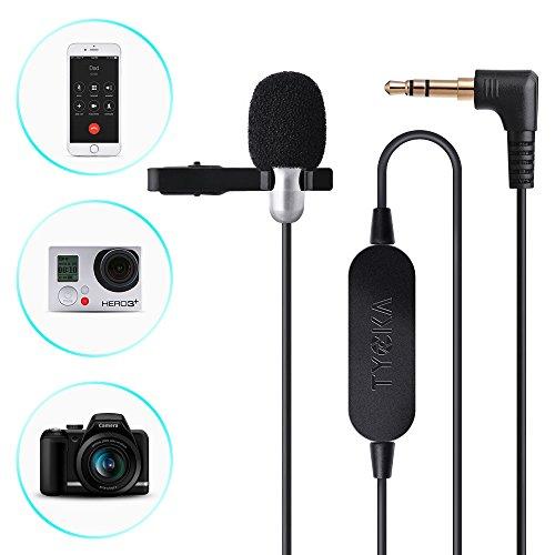TYCKA 6 m Lavalier Microfono, Condensatore Omnidirezionale con amplificatore audio, Microfono clip-on da 3,5 mm con uscita per telefoni, Splitter cavo audio AUX da 3,5 mm per fotocamera, tablet e PC