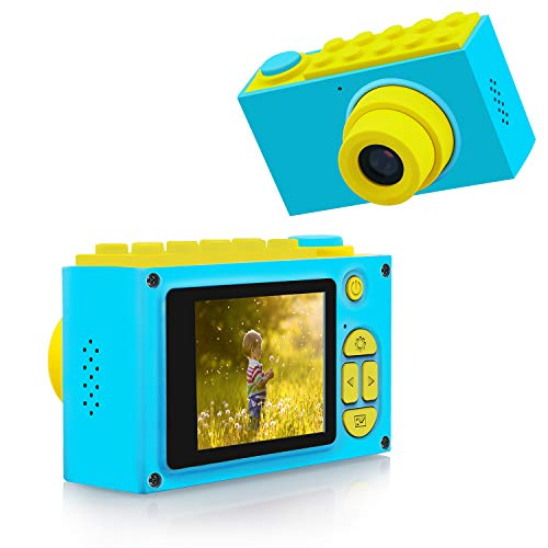 FishOaky Kamera für Kinder, Digitale Kamera Kinder, Digitalkamera Videokamera Full HD 1080P / 8MP / 4X Digitaler Zoom / 2 Zoll LCD Bildschirm (Blau)