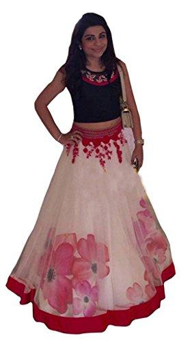 Lehenga Choli (Women\'s Black & White Banglori silk Printed lahenga FREE_SIZE)