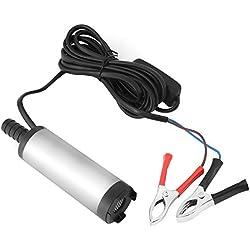 Walfront 12V Mini Pompe Submersible Electrique Transfert d'eau/Diesel/Kérosène Siphon Diamètre 3.8cm pour Moto Automobile Voiture