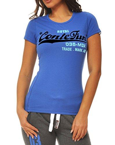 M.Conte Damen T-Shirt Kurzarm T Sweat-Shirt Neon-Pink Lila Grau Blau Rose Rot Grün Schwarz S M L XL Farbe Indigo Blau Größe XL (Farbe Indigo-blaue)