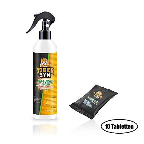 TigerZym - Reiniger auf Enzymbasis (Sprühflasche inkl. 10 Tabletten) | Küchenreiniger - Polsterreiniger - Allzweckreiniger | Ideal für Küche, Sofa, Auto, Sitze, Polster
