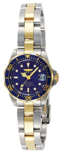 Invicta Women's Pro Diver Quartz Watch with Blue Dial Analogue Display and Multicolour Stainless Steel Gold Plated Bracelet 8942