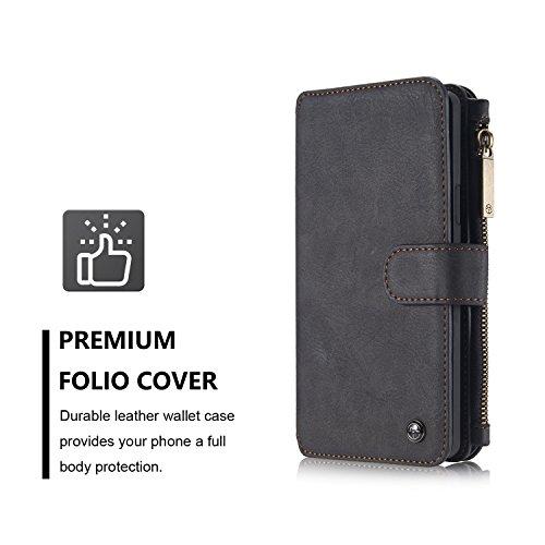 Handy-Hüllen & Hüllen, Für Samsung Galaxy Note5 Brieftasche Case, CaseMe Abnehmbare Premium Leder Tasche, 13 Card Slots, 1 Foto Frame Reißverschluss Magnetische Abdeckung ( Farbe : Braun ) Schwarz