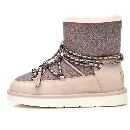 Schneeschuhe Locomotive Wasserdichte Rutschfeste niedrige Schuhe Schaffell eine Booties Casual Wanderschuhe Schuhe & Handtaschen (Color : Pink, Size : 40) -
