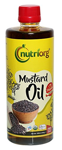Nutriorg Certified Organic Mustard Oil  available at amazon for Rs.135