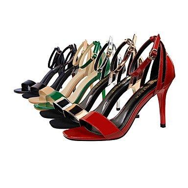 LittleDevil Damen-Sandalen-Kleid-Leder-Stöckelabsatz-Komfort-Dunkelgrau Rot Grün Hautfarben Champagner Dunkelgrau