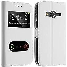Avizar Custodia Ultra-Slim, Tasca Doppia Finestra per Samsung Galaxy Trend 2Lite–Bianco