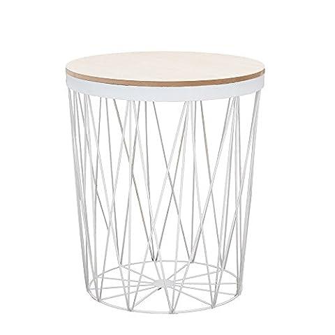 Moderner Couchtisch Beistelltisch STORAGE II aus Metall weiß mit Holzdeckel Korb Aufbewahrung Tisch mit Eiche Ablage Aufbewahrungkorb