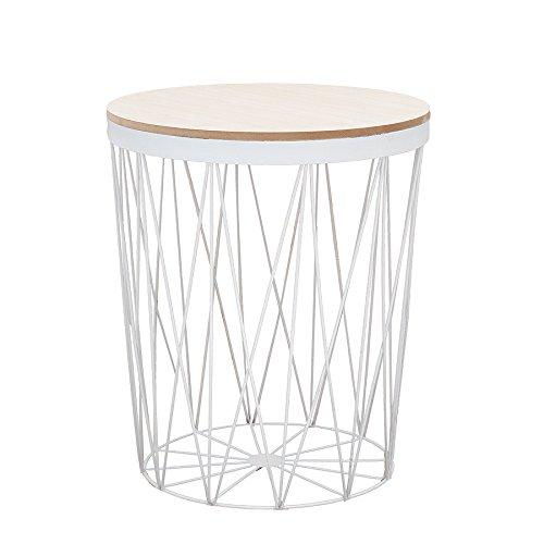 Moderner Couchtisch Beistelltisch STORAGE II aus Metall weiß mit Holzdeckel Korb Aufbewahrung Tisch mit Eiche Ablage Aufbewahrungkorb - Schlafzimmer Eiche Tisch