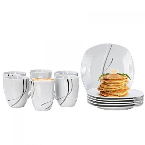 Van Well Frühstücksservice Silver Night, 12tlg. für 6 Personen, 6 Kaffeebecher + 6 Kuchenteller,...