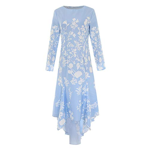 WUDUBE Frauen Langarm Kleider Damen Lange Maxikleid Retro Kleid Blumen Abendkleid Cocktailkleider Partykleider Mit Lange Hülsen