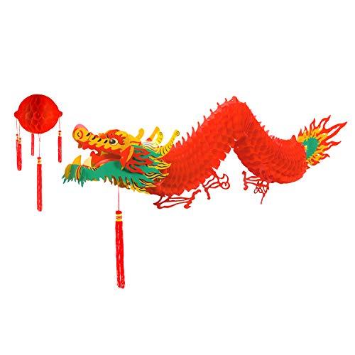 (TUPARKA Chinesischer Drache mit roter Laterne für chinesische Neujahrsdekoration (4,92 Fuß))