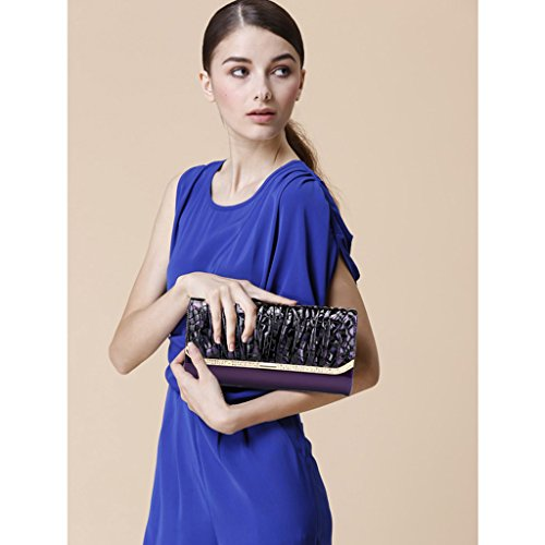 borsa in pelle borsa pochette afflusso di donne in Europa e in America nuova catena portafoglio pranzo del sacchetto di diamanti in vernice ( Colore : Painting Color ) Leopard Color