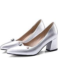 ZHZNVX Scarpe da donna PU (poliuretano) Estate Basic Heels Pump Heun Chunky Heel White/Black, White, US6 / EU36 / UK4 / CN36