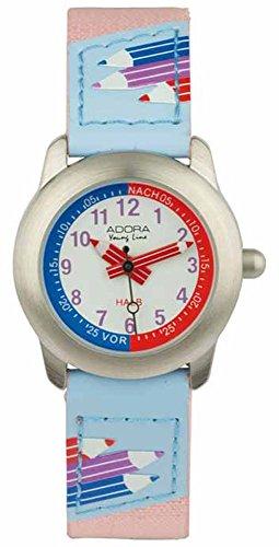 Adora Young Line Armbanduhr analog Lernuhr für Kinder aus Metall mit Leder/Textilband 29416