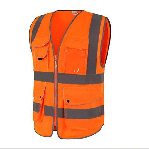 Goldbeing-Gilet-di-sicurezza-ad-alta-visibilit-con-nove-tasche-con-strisce-catarifrangenti-e-cerniera-lampo-ideale-per-operai-lavoratori-nel-campo-edile-escursionisti-proprietari-di-cani-raccoglitori-