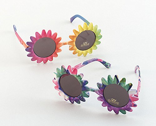 Sunglasses Sunflower Multi Glasses Accessory for 60s 70s Hippie Fancy Dress Glasses by Partypackage Ltd