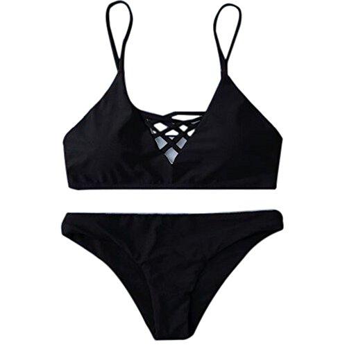 Leadmall Damen-Bikini, sexy, Neckholder-Bandage, Criss Cross Front Zweiteiliger Badeanzug mit Tanga S schwarz -