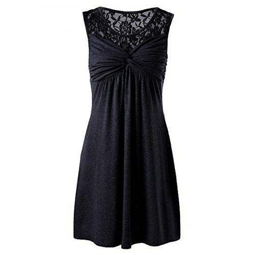 MAYOGO Große Größen Kurz Sommer Kleid aus Baumwolle,Unifarben A Linie Ohne ärmel Spitze Minikleid Oversize Casual Corsage ()