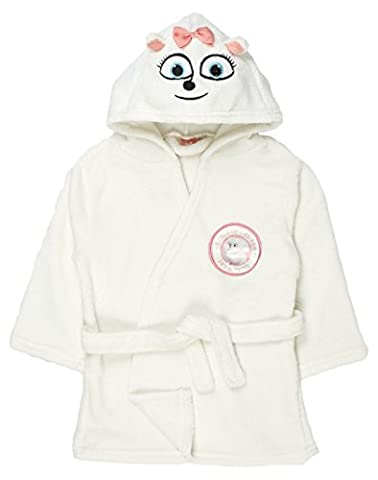 Girls The Secret Life Of Pets Hooded Fleece Dressing Gown Gidget Bath Robe Size UK 2-9 Years