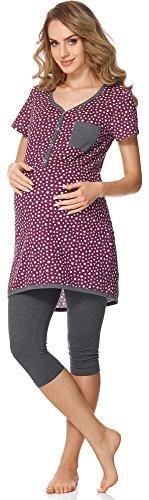 Capri-wein (Bellivalini Damen Umstands Pyjama mit Stillfunktion BLV50-126 (Wein Sterne/Graphit, S))