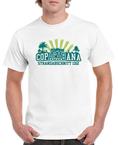 Comedy Shirts - Copacabana Strandabschnitt 1312 - Herren T-Shirt - Weiss/Türkis-Hellgrün Gr. S