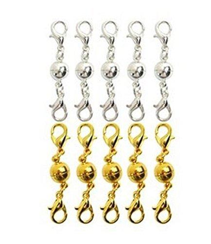 cofco 10PCS Ball Ton magnetisch Hummer Verschlüsse für Schmuck Halskette Armband (Gold + Silber)