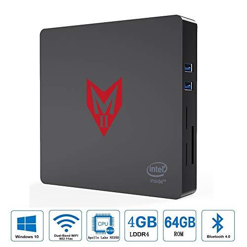 VGROUND MII Mini PC con Pprocesador Intel Apollo Lake Celeron N3350, Compatible Windows 10, HD Graphics 500, 4GB LPDDR4 + 64GB ROM, BT4.0, 4K, 1000Mbps LAN, 2.4G + 5.8G Dual WiFi