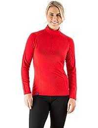 EDZ Merino Wool Womens Zip Neck Base Layer Top Red