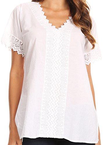 Sakkas 5301 - Marisa Short Sleeve V-Ausschnitt Slim Fit Woven-Baumwollbluse mit Crochet Trim - Weiß - L -