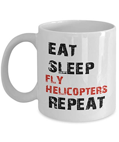Funny Air Force Mug, Coffee Mug 11 Oz - Eat Sleep Fly Helicopters Repeat - Funny Air Force Gifts For Women, Mom, Wife From Daughter, Son, Granddaughter, Kids For Mother's Day - Ceramic Tea White - Air Force Womens Basketball