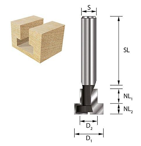 ENT T-Nutfräser HW (HM), Schaft (S) 8 mm, Durchmesser (D1) 12,7 mm, D2 6,35 mm, NL1 8,0 mm, NL2 4,8 mm, Z2