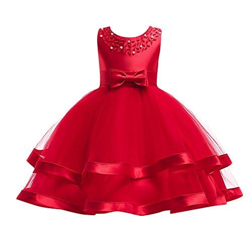 Kostüm Aztekische Kinder - WUSIKY Sommerkleid Kinder Baby Mädchen Bowknot Perle Prinzessin Sleeveless Formelle Kleidung Dresss Minirock Tutu Hoop Rock Tüll Unterrock Kinder Geschenk 2019 Kleid(110,rot)