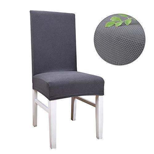 Sumshy Universal Stuhlhussen Grau 6er Set, Gestrick Stuhlbezug, elastische universelle stuhlabdeckun, Sitzbezüge Protector für Esszimmer Küchenstühle, Charles Runde und eckige Stuhllehnen