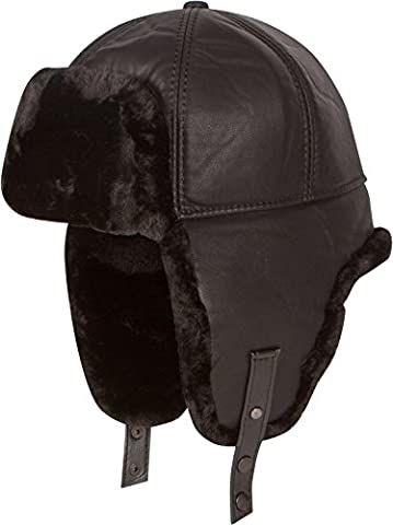 Sakkas 16160 - Leder Shearling Faux-Nerz-Pelz-Flieger russische Ushanka Hat Kinnriemen - Schwarz - XL