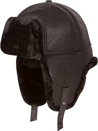 Nerz Pelz (Sakkas 16160 - Leder Shearling Faux-Nerz-Pelz-Flieger russische Ushanka Hat Kinnriemen - Schwarz - L)