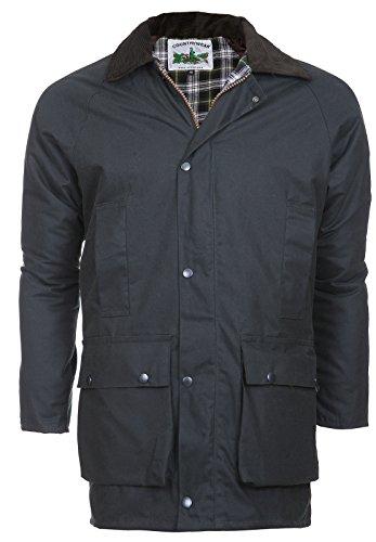 Englische Wachsjacke Winter Country-Wear | Herren Jacke | Reiten & Jagd Mantel | Warmes Innenfutter | abnehmbare Kapuze | wasserabweisend & atmungsaktiv -
