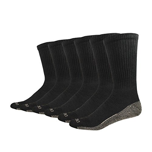 Dickies Men's Multi-Pack Dri-Tech Moisture Control Crew Socks, Black 6 Pack, Sock Size: 13-15/Shoe Size: 12-15